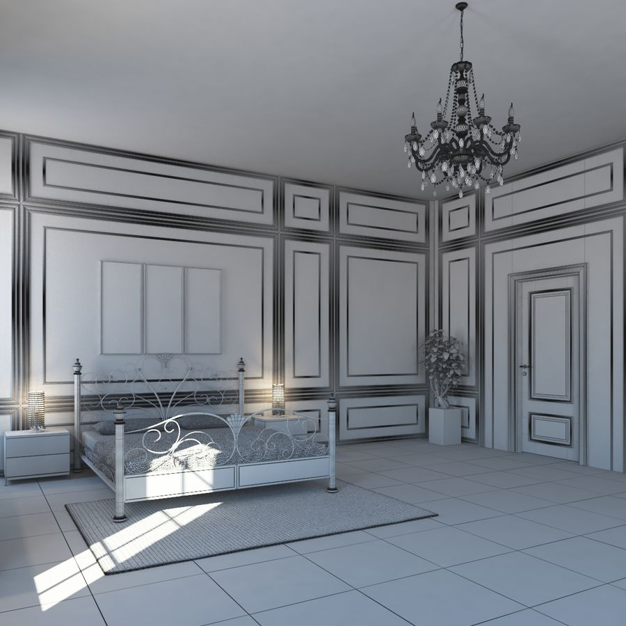 French Country Minimalist Bedroom Interior royalty-free 3d model - Preview no. 15