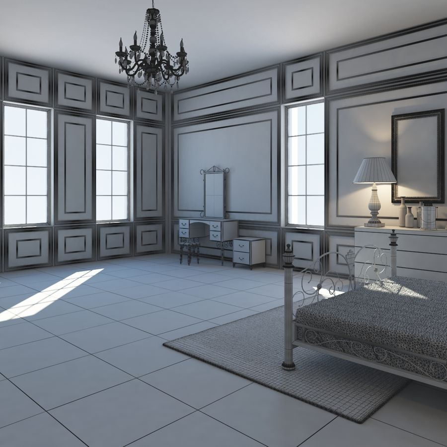 French Country Minimalist Bedroom Interior royalty-free 3d model - Preview no. 16
