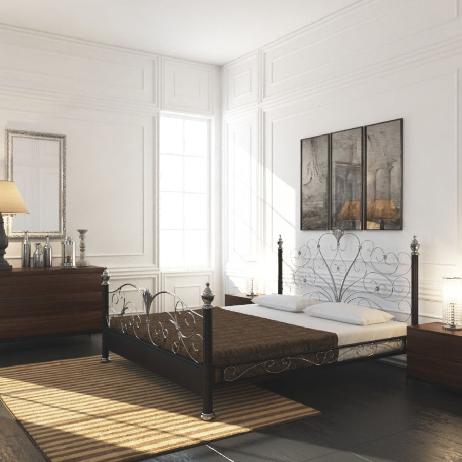 French Country Minimalist Bedroom Interior royalty-free 3d model - Preview no. 2