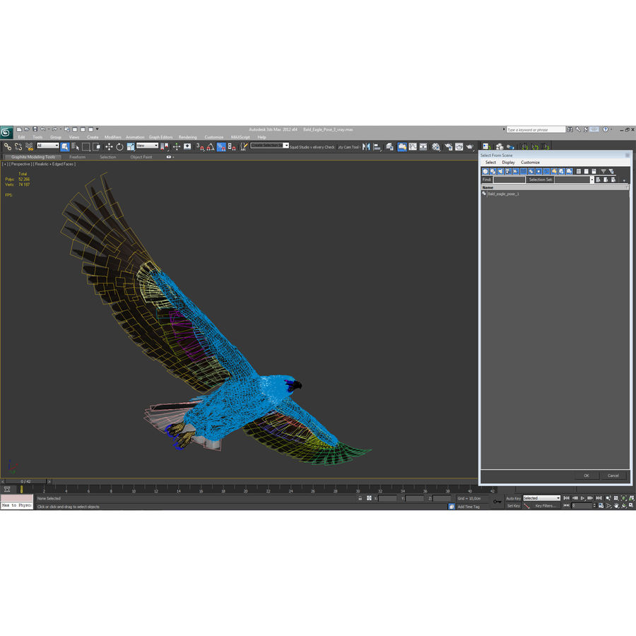 Bald Eagle Pose 3 royalty-free 3d model - Preview no. 24