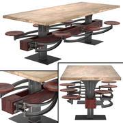 Perrin kommunalt bord med bifogad sittplats 3d model