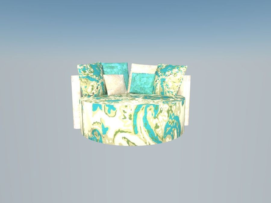 ROUND COUCH royalty-free 3d model - Preview no. 4
