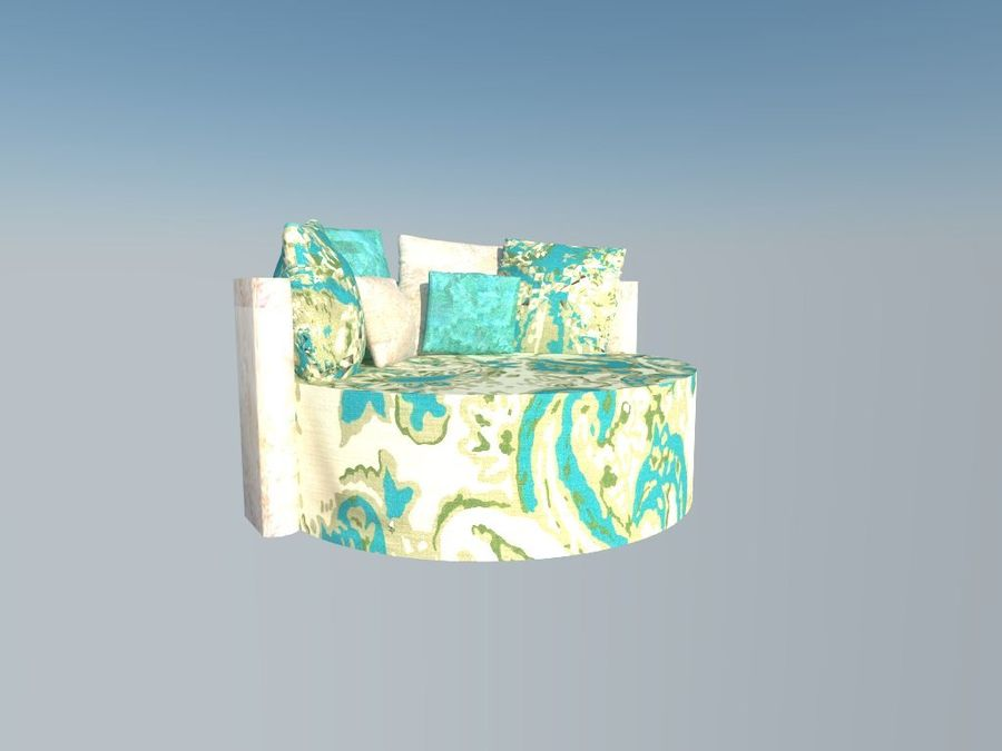 ROUND COUCH royalty-free 3d model - Preview no. 3