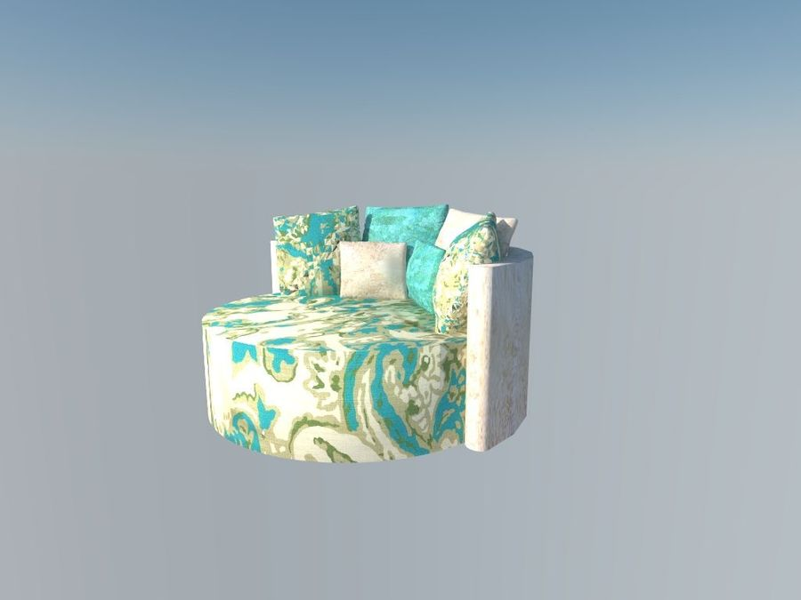 ROUND COUCH royalty-free 3d model - Preview no. 2