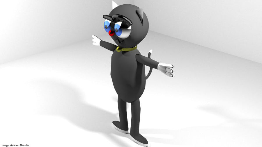 Cartoon Animal Cat royalty-free 3d model - Preview no. 1