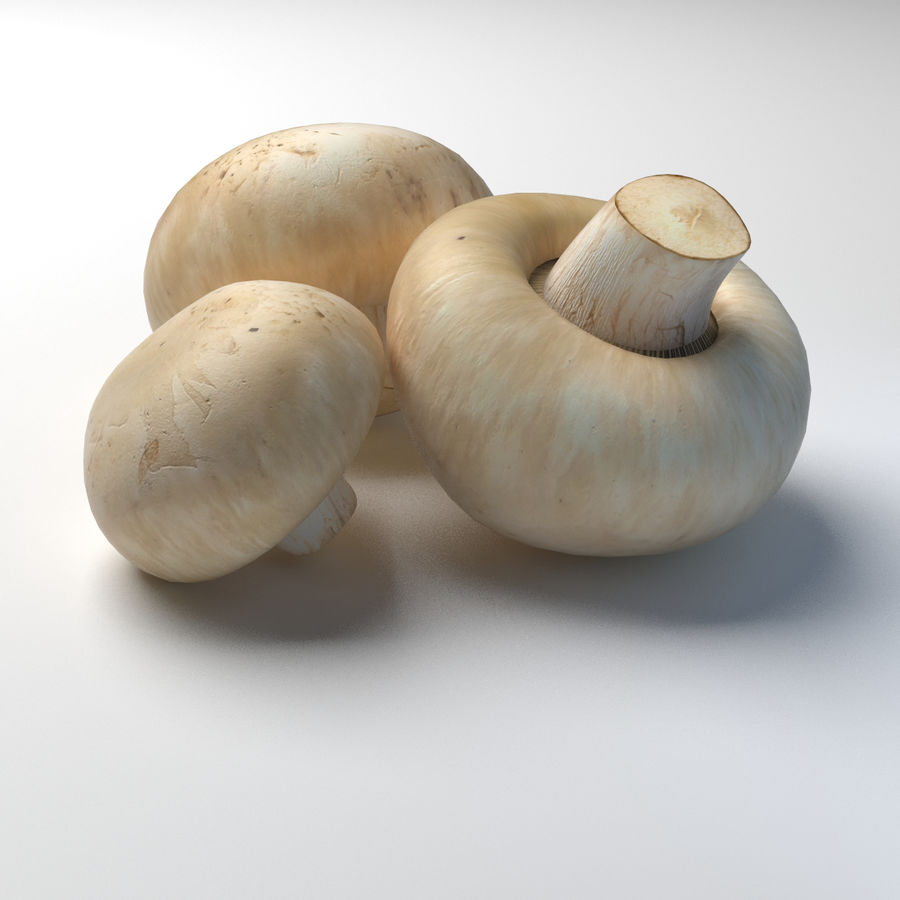Knopf Pilz Champignon Low-Poly royalty-free 3d model - Preview no. 1