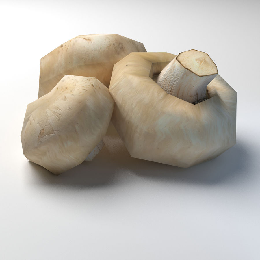 Knopf Pilz Champignon Low-Poly royalty-free 3d model - Preview no. 2