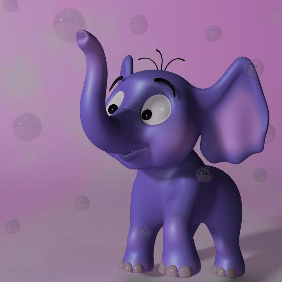 Dessin animé bébé éléphant gréé royalty-free 3d model - Preview no. 2