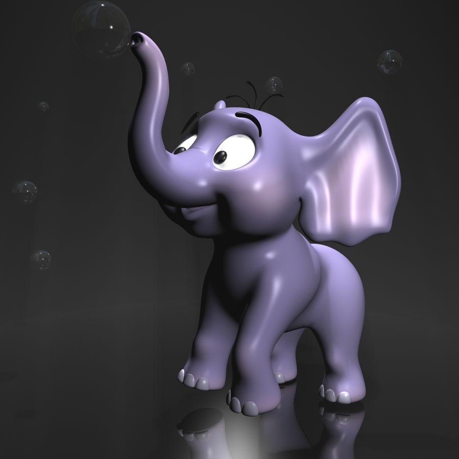 Dessin animé bébé éléphant gréé royalty-free 3d model - Preview no. 3