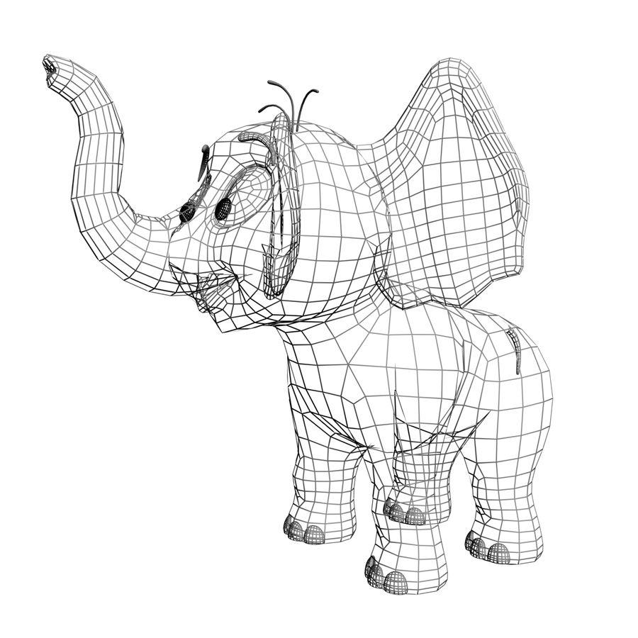 Dessin animé bébé éléphant gréé royalty-free 3d model - Preview no. 8