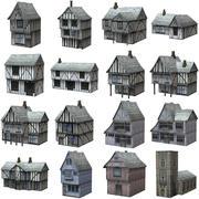 Średniowieczne budynki o niskim wielokącie 3d model