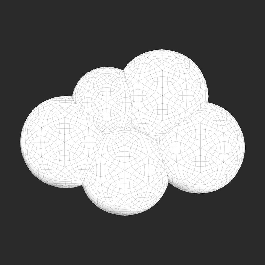 Cartoon Clouds royalty-free 3d model - Preview no. 9