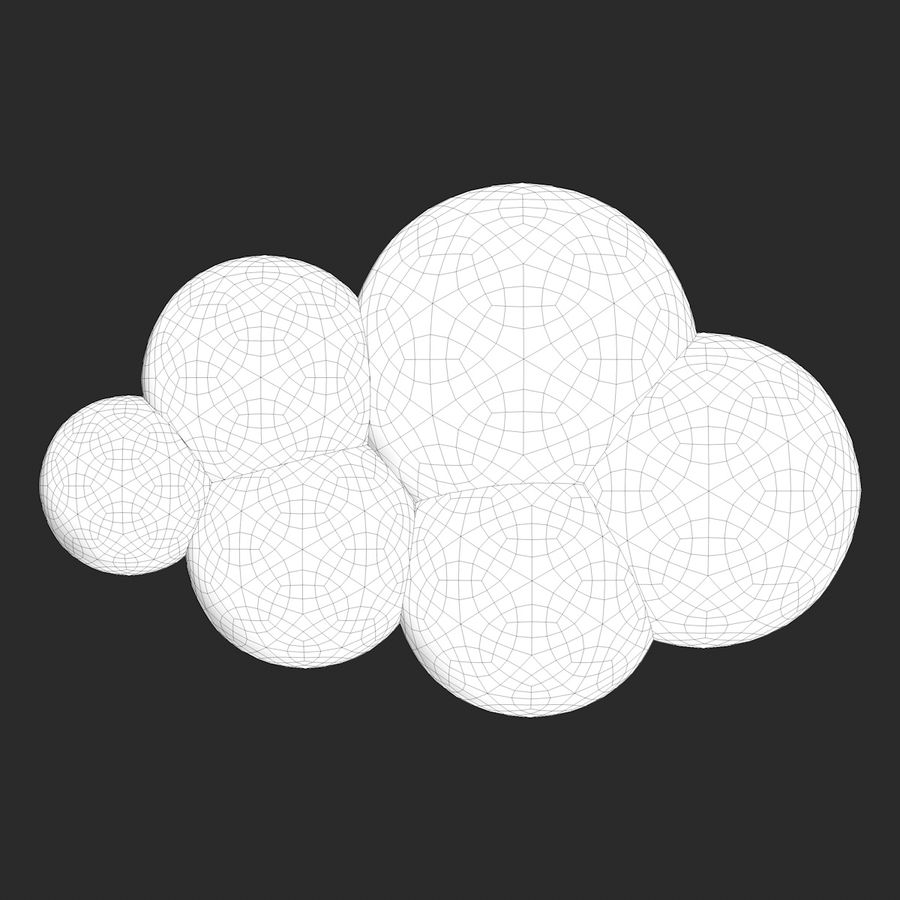 Cartoon Clouds royalty-free 3d model - Preview no. 12