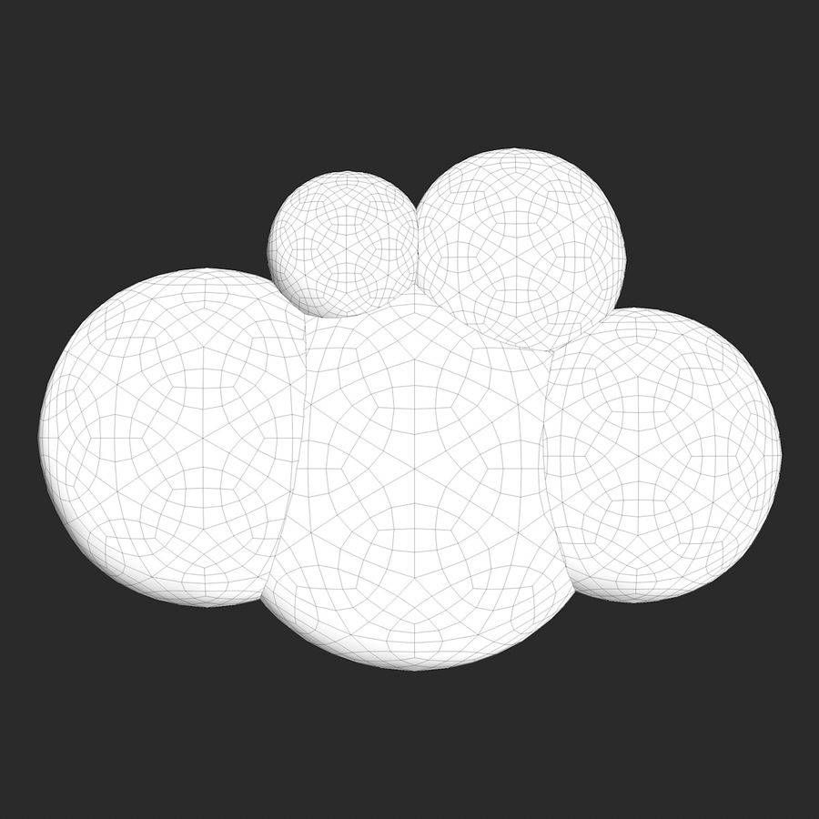 Cartoon Clouds royalty-free 3d model - Preview no. 10