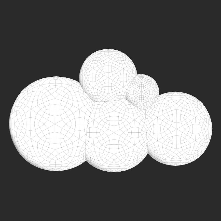 Cartoon Clouds royalty-free 3d model - Preview no. 11