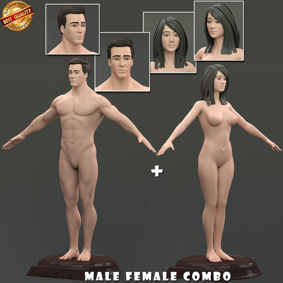 Combo Homme Femme royalty-free 3d model - Preview no. 1