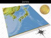 日本、高解像度3Dレリーフマップ 3d model