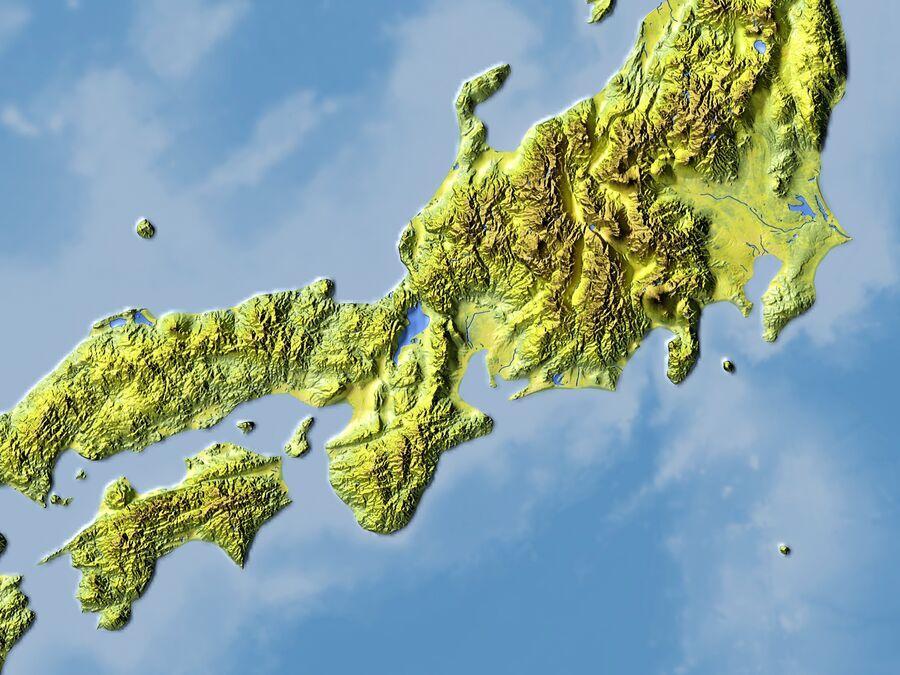 日本、高解像度3Dレリーフマップ royalty-free 3d model - Preview no. 7