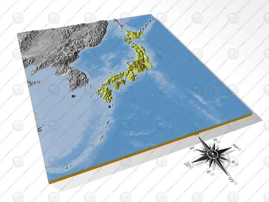 日本、高解像度3Dレリーフマップ royalty-free 3d model - Preview no. 5