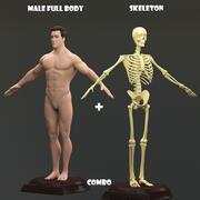 Homme plein corps avec squelette 3d model