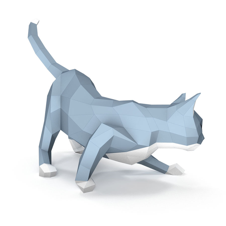 Hunting Cat Paper royalty-free 3d model - Preview no. 3