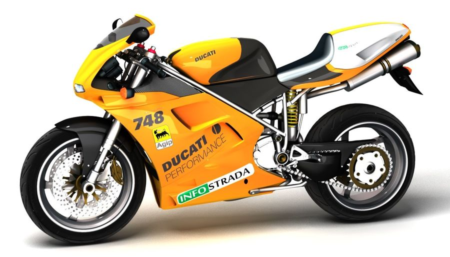 ducati 748 royalty-free 3d model - Preview no. 2
