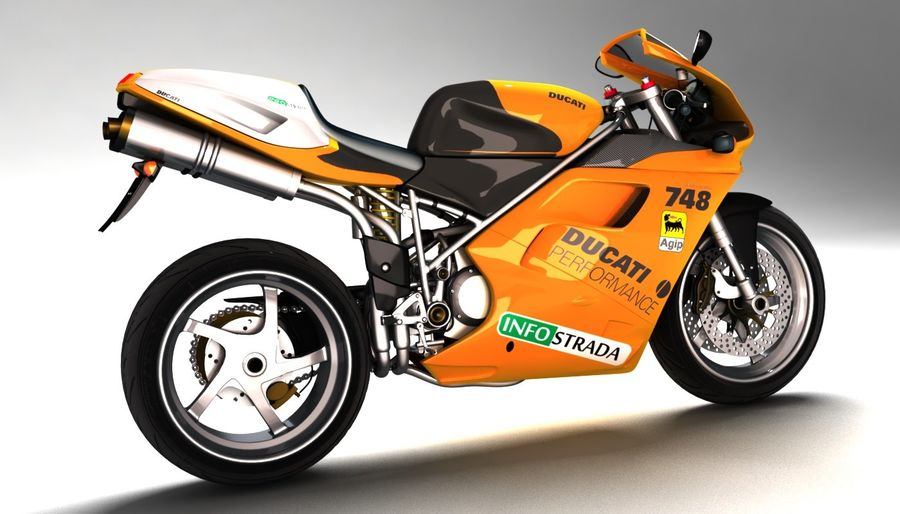 ducati 748 royalty-free 3d model - Preview no. 3