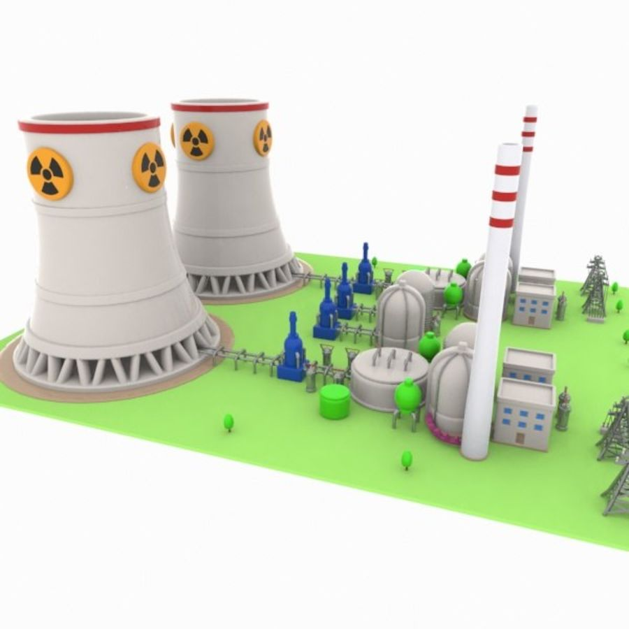 Cartoon Nuclear Power Plant royalty-free 3d model - Preview no. 7