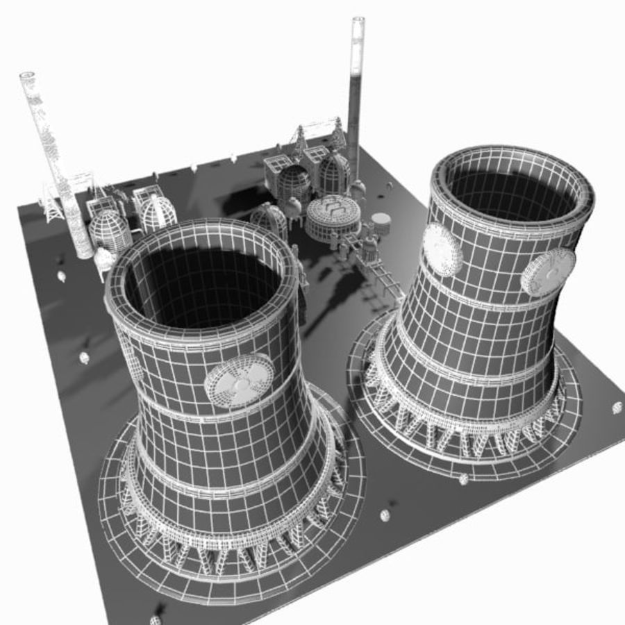 Cartoon Nuclear Power Plant royalty-free 3d model - Preview no. 12