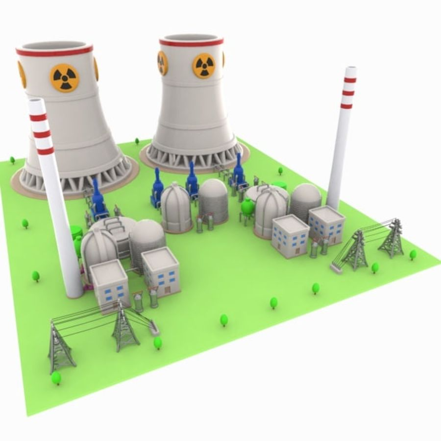 Cartoon Nuclear Power Plant royalty-free 3d model - Preview no. 5