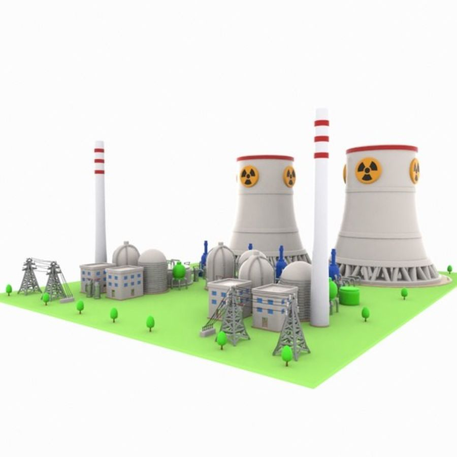 Cartoon Nuclear Power Plant royalty-free 3d model - Preview no. 4