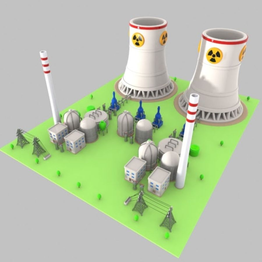 Cartoon Nuclear Power Plant royalty-free 3d model - Preview no. 2