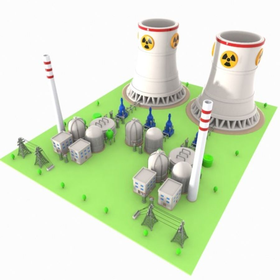 Cartoon Nuclear Power Plant royalty-free 3d model - Preview no. 1