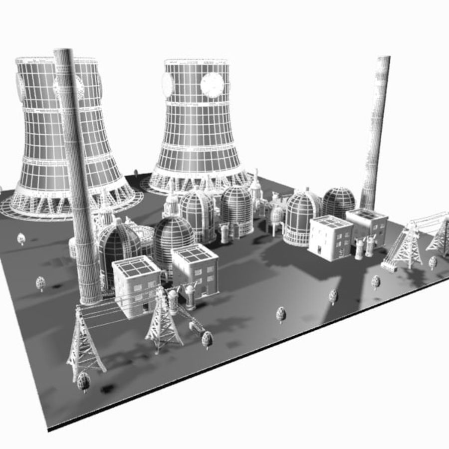 Cartoon Nuclear Power Plant royalty-free 3d model - Preview no. 15