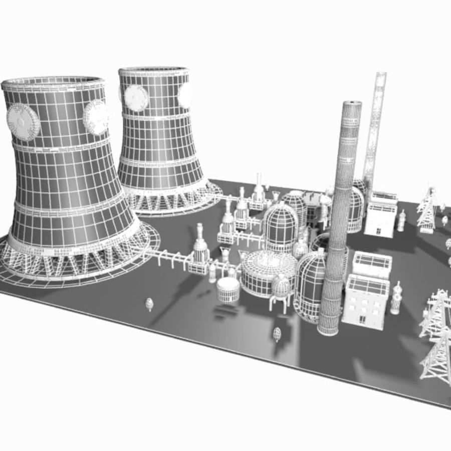 Cartoon Nuclear Power Plant royalty-free 3d model - Preview no. 14