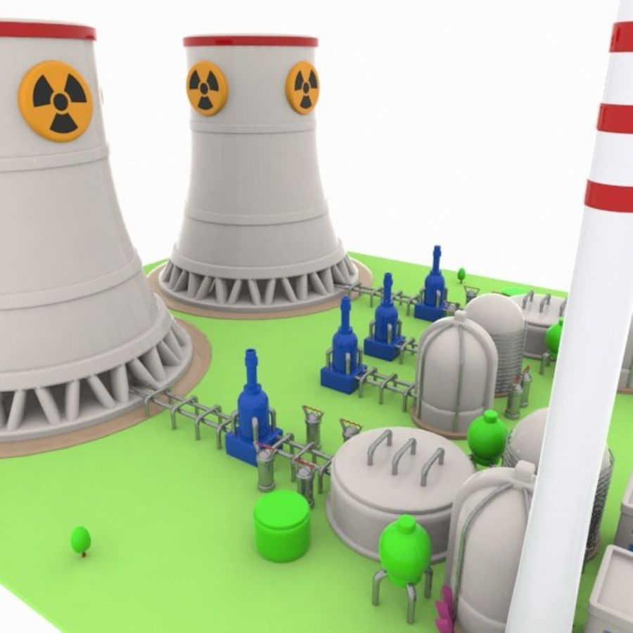 Cartoon Nuclear Power Plant royalty-free 3d model - Preview no. 8
