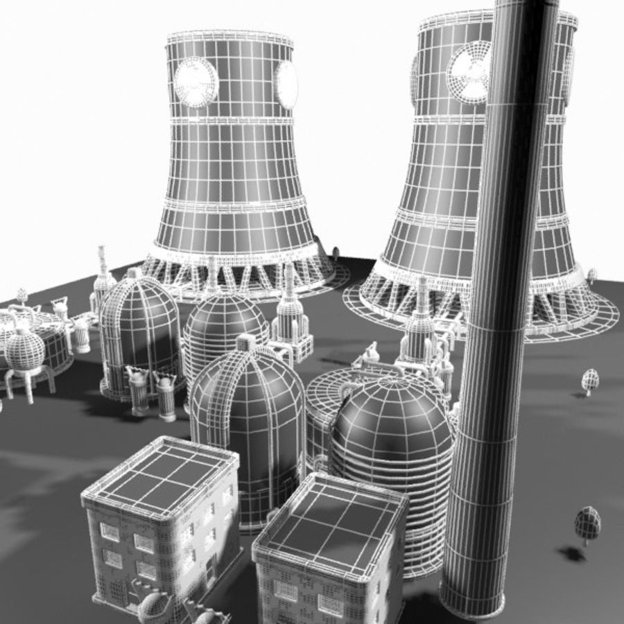 Cartoon Nuclear Power Plant royalty-free 3d model - Preview no. 17