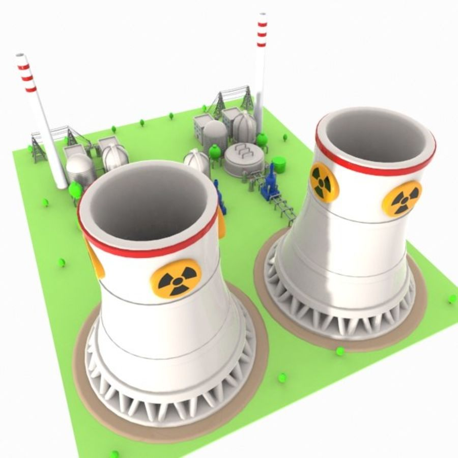 Cartoon Nuclear Power Plant royalty-free 3d model - Preview no. 11