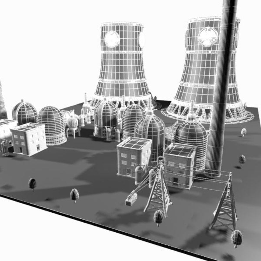 Cartoon Nuclear Power Plant royalty-free 3d model - Preview no. 18
