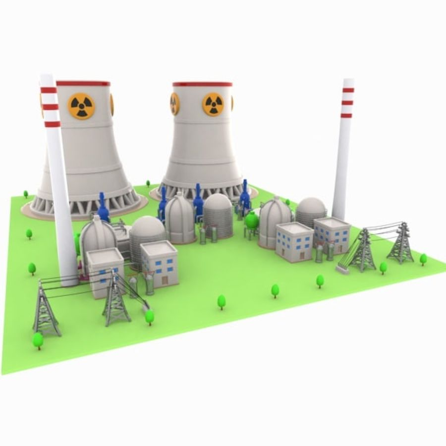 Cartoon Nuclear Power Plant royalty-free 3d model - Preview no. 6