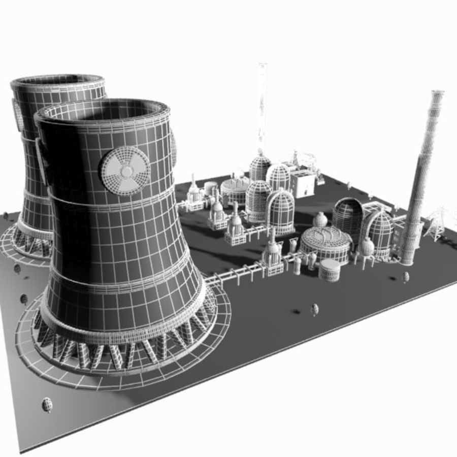 Cartoon Nuclear Power Plant royalty-free 3d model - Preview no. 13