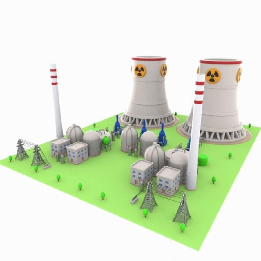 Cartoon Nuclear Power Plant royalty-free 3d model - Preview no. 3