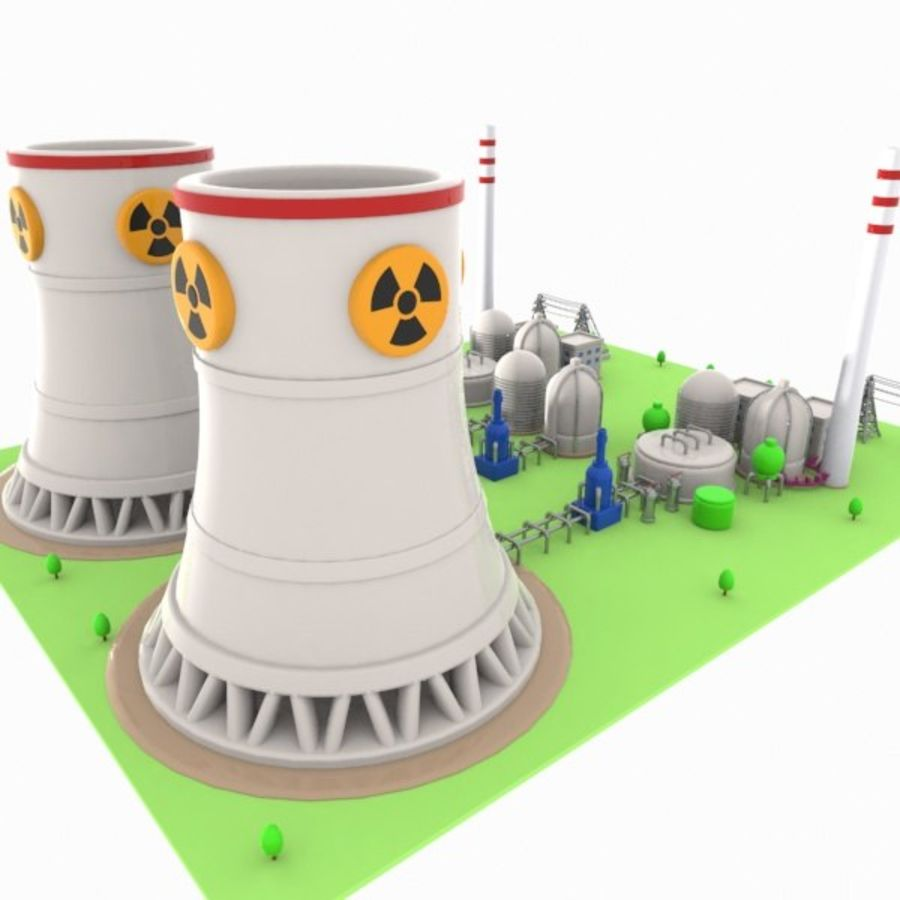 Cartoon Nuclear Power Plant royalty-free 3d model - Preview no. 9