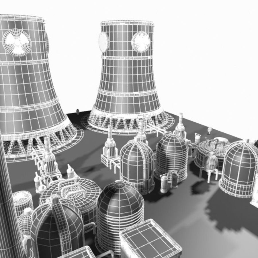 Cartoon Nuclear Power Plant royalty-free 3d model - Preview no. 16
