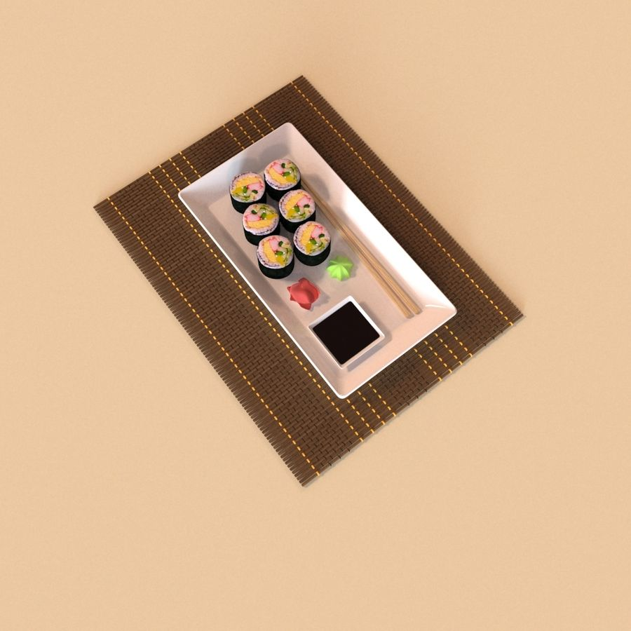 Sushi Set royalty-free 3d model - Preview no. 3