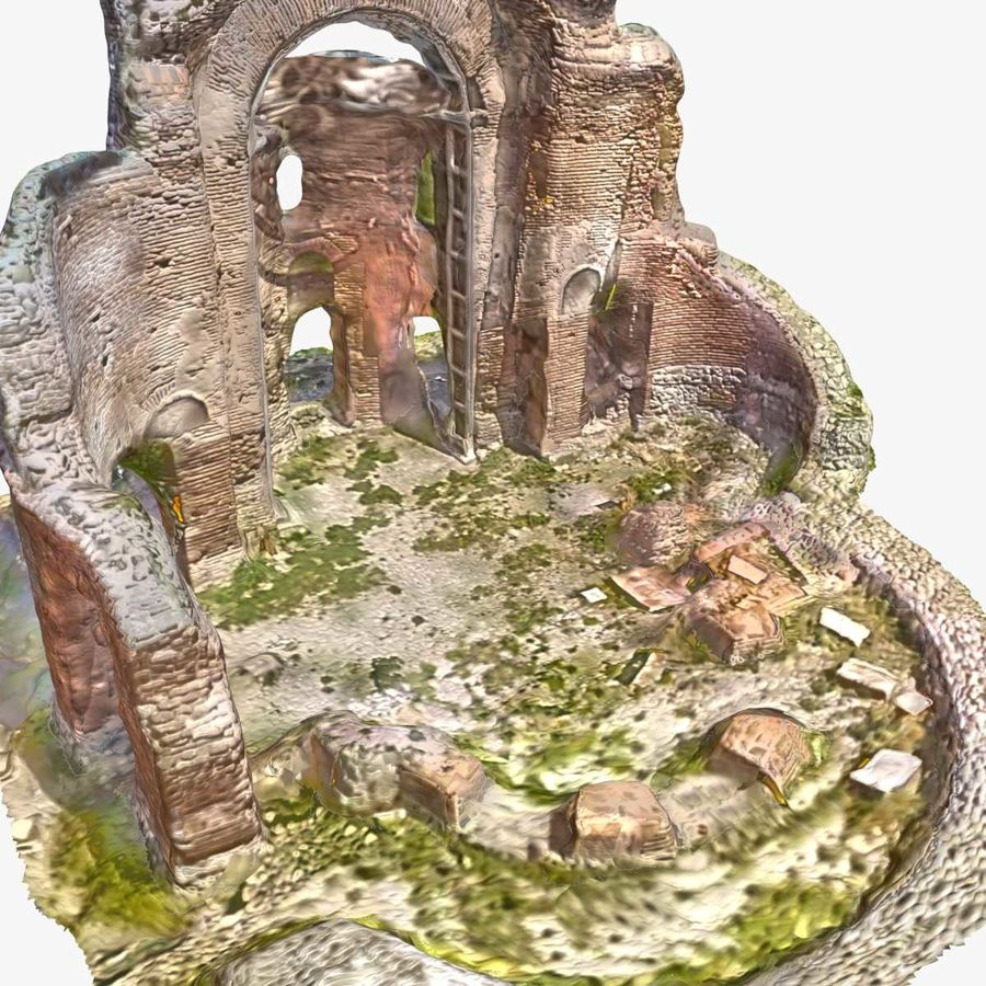 Ruins 7 - The Red Church royalty-free 3d model - Preview no. 1