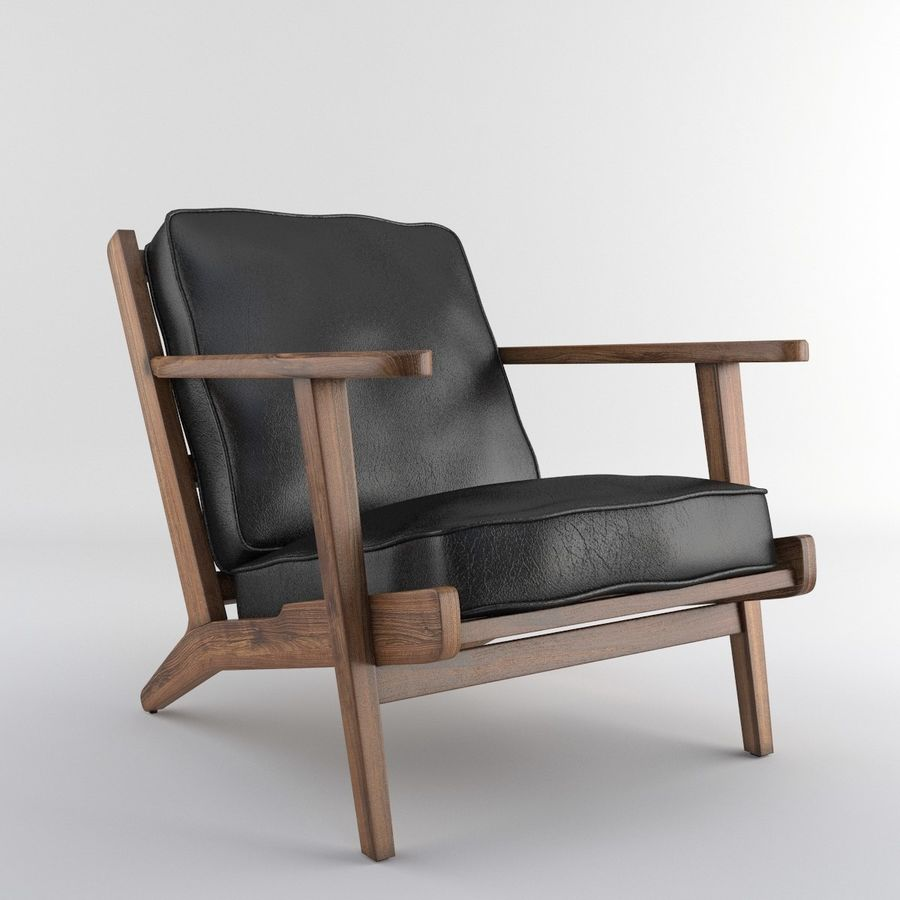 Brooks Lounge Chair (Arm chair) royalty-free 3d model - Preview no. 9