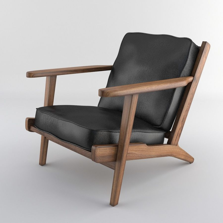Brooks Lounge Chair (Arm chair) royalty-free 3d model - Preview no. 26