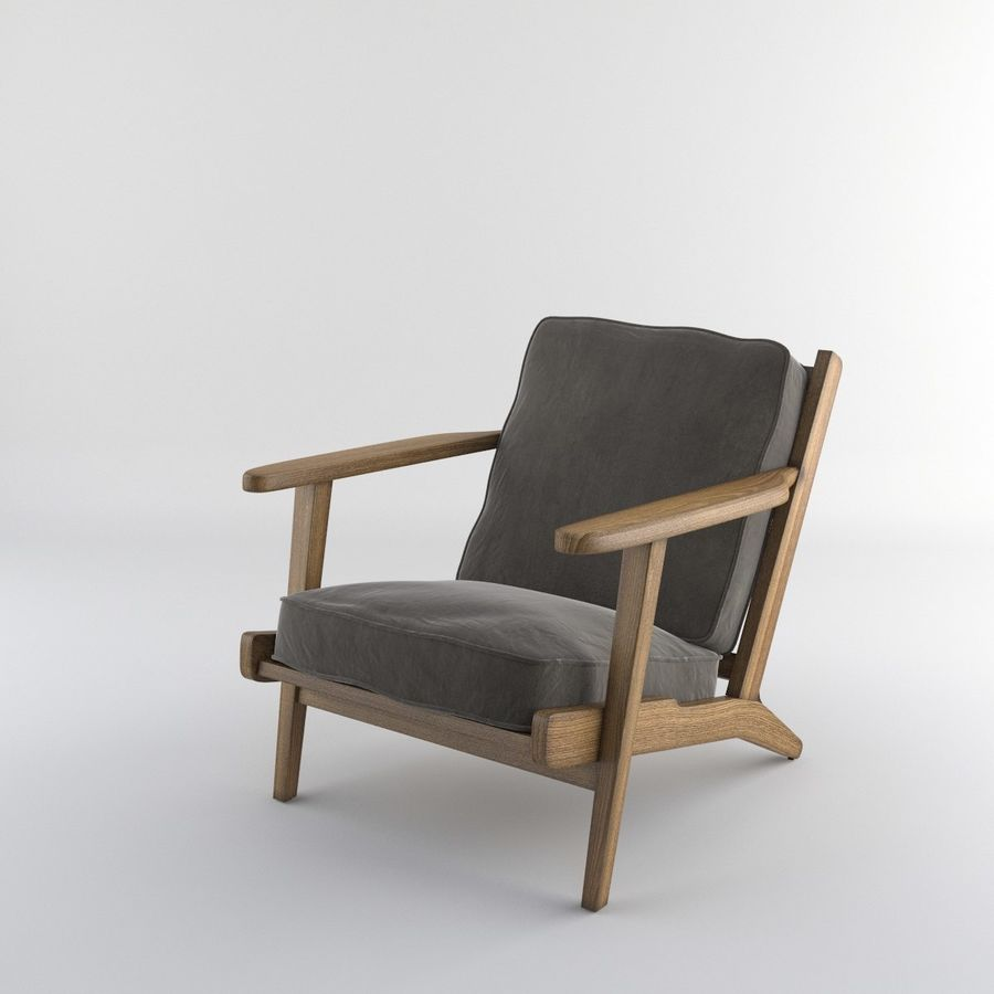 Brooks Lounge Chair (Arm chair) royalty-free 3d model - Preview no. 13