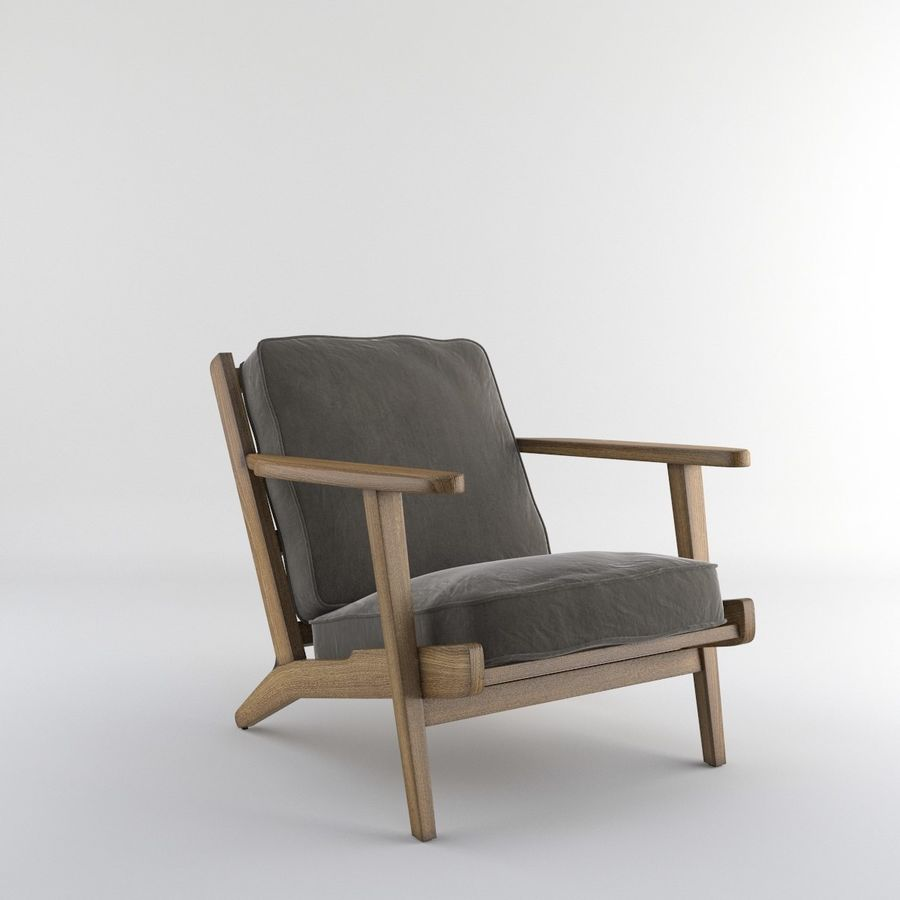 Brooks Lounge Chair (Arm chair) royalty-free 3d model - Preview no. 6